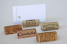 - These wine cork place card holders are made from real, used wine corks (no synthetic corks). You will receive a variety of wine names and images. Because they are used corks, they may have staining
