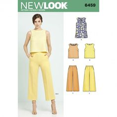 NewLook 6459 Women's Tunic or Top and Cropped trousers