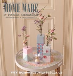 www.homemadebypatricia.de Blumenvasen aus Zaunpfosten