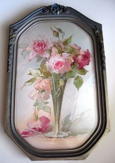 Roses Print Catherine Klein Convex Glass Antique Barbola