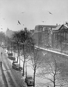 Amsterdam is één van mijn favoriete steden waar ik na ieder bezoek weer gelukkig naar huis terugkeer. Het boek speelt zich hoofdzakelijk af in deze top stad, maar geeft mij niet hetzelfde gevoel. Door de gebeurtenissen en de gemoedstoestand van het hoofdpersonage, geeft de setting van het boek me eerder een sombere en grijze indruk zoals hiernaast op de foto te zien is. Deze foto werd gemaakt in 1952 wat zich midden op de tijdlijn van dit verhaal situeert.