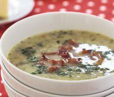 Potatis- och jordärtskockssoppa med bacon  ska brovas