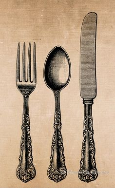 Vintage Knife / fork / spoon / cutlery  . by MummaBirdGraphics, $1.20