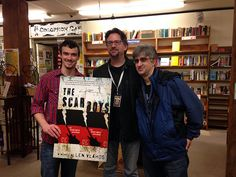 Paul Hanson and Sam with Len Vlahos at Village Books in Bellingham, WA, featuring The Scar Boys.