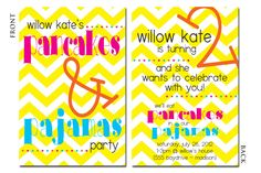 Pancakes & Pajamas Party Birthday Invitation