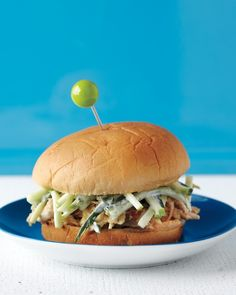 Pulled Chicken with Apple-Cucumber Slaw - Martha Stewart Recipes