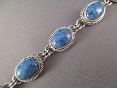 Denim Lapis Link Bracelet by Native American Navajo Indian jewelry artist, Artie Yellowhorse