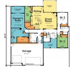 3 bedroom ranch floor plans floor plans aflfpw75216 1 for Southfork ranch floor plan