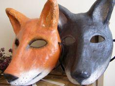 Masquerade mask Paper mache Black Wolf mask animal by EpicFantasy, $54.00