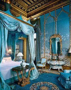 One of Marie Antoinette's chambers. rich turquoise & gold