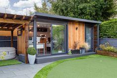 Smart Garden Offices, Garden Office Shed, Backyard Office, Backyard Studio, Backyard Sheds, Modern Backyard, Outdoor Sheds, Garden Lodge, Garden Cabins