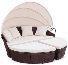 Rattan Outdoor Garden Bali Day Bed Patio Sun Lounge in Black, Brown, Grey Garden Day Bed, Garden Sofa, Corner Furniture, Sofa Furniture, Kitchen Furniture, Furniture Ideas, Furniture Design, Wood Sofa, Rattan Sofa