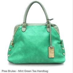 Pree Brulee - Mint Green Handbag from Pree Brulee. Saved to Jewelry - Let's Sparkle! Green Handbag, Green Bag, Mint Green, Kelly Green, Mint Bag, Purses And Bags, Big Purses, Shoe Bag, My Style