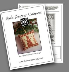 PDF Cross Stitch Pattern for Redwork Nordic by CherieWheeler, $8.00