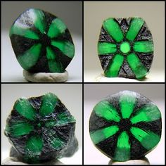 Trapiches are a rare kind of Emerald with the presence of black carbon impurities giving the Emerald a radial six pointed star pattern. It is usually made into oval and round cabochons but can come in different shapes .