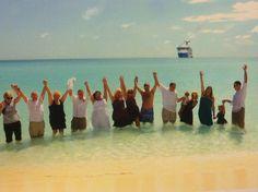 Swimming in my wedding dress ! Half moon cay Bahamas