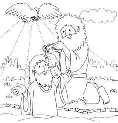 Jesus Baptized By John The Baptist Coloring Page For Baptism With Inside Baptizes