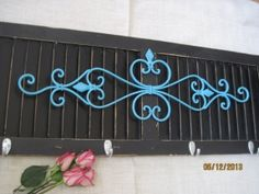 Shabby Chic Shutter Black Hook Aqua Wrought Iron Metal Kitchen Coat Hanger Towel Rack Primitive Wood Wall Decor