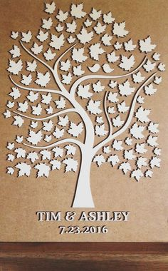Custom wedding guest book alternative - 3D Wedding Tree guest book - wood rustic…
