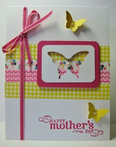 Washi Tape & Butterflies - SU - All Holidays, Gingham Garden Designer Washi Tape, Mother's Day (by Barb Mann)