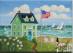 Summer Breeze Folk Art Print. Cottage by the sea with American flag.  #Americanflag