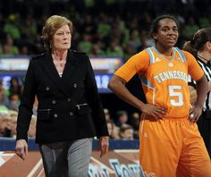 Tennessee coach Pat Summitt looks out onto the court with guard Ariel Massengale in the second half of an NCAA college basketball game with Tennessee, Monday, Jan. 23, 2012, in South Bend, Ind. Notre Dame won 72-44.   (AP Photo/Joe Raymond)