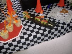 cars party food ideas (dipsticks- carrot and celery sticks)