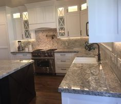 Pro #5061218 | The Countertop Guy | West Valley City, UT 84119 White Kitchen Island, Kitchen Island Lighting, Kitchen Wall Colors, Kitchen Hoods, Wood Kitchen Cabinets, Herringbone Pattern, Granite Countertops, Kitchen Remodel, Valley City