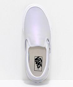 c67b88891 Vans Slip-On Iridescent Muted Metallic Grey   White Skate Shoes