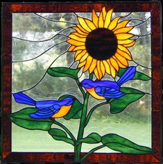 glass art, glass sunflow, bluebird, sunflower kitchen, window, color, blue bird, stain glass, stained glass