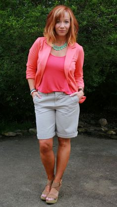 Fashion Fairy Dust coral blazer, pink tank top, khaki shorts, tan wedges and statement necklace