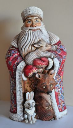 Collectible wooden painted Russian Santa Claus by RusDecor on Etsy