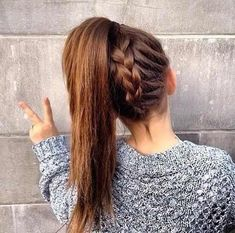 Upside Down Braid into a Ponytail.