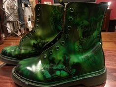New zombie Doc Martens, using a uv reactive paint, look really cool un der the black light!