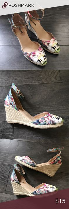 Multicolored wedge summer pumps/sandals Multicolored wedge summer pumps/sandals. Worn only once, like brand new. whitemt. Shoes Wedges