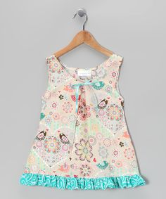 Beige Fanciful Bird Swing Dress - Toddler & Girls | Daily deals for moms, babies and kids