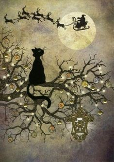 Moon Cat 5 Pack : Yule/Winter Solstice : Cards by Occasion / Recipient : Home : Pagan/spiritual and fairy/fantasy greeting cards, prints and gifts at Moondragon Christmas Paper, Vintage Christmas Cards, Christmas Cats, Christmas Pictures, Xmas, Merry Christmas, Nyc Christmas, Black Christmas, Halloween Christmas