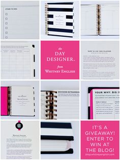 Whitney English 2015 Day Planner in Black and White Stripe