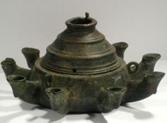 Roman Bronze Oil Lamp - SF.048  	   	  	Origin: Mediterranean 	    	   	  	Circa: 100  				AD 			        			to 300  				AD