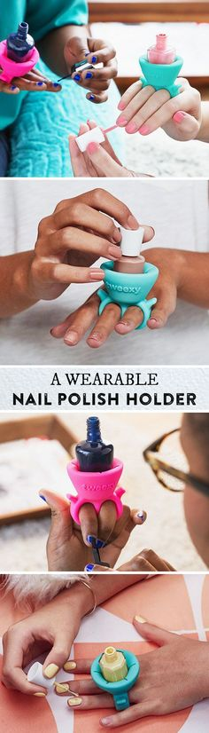 This little holder slides onto your finger to hold any bottle of polish. Paint your nails at home or on the go, no flat surface required.