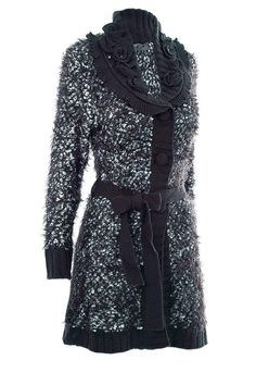 Damen Strickmantel Cardigan Strickjacke Wolle  schwarz - weiss Gr.40
