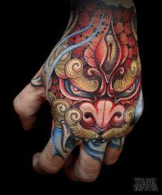 Amazing Japanese hand tattoo by Yushi. Guru Tattoo | San Diego, CA. #gurutattoo