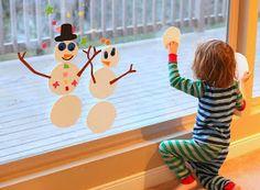 Winter Window Art: Mix and Match Foam Snowmen