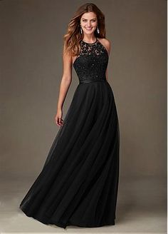 Buy discount Amazing Tulle Jewel Neckline Natural Waistline Floor-length A-line Bridesmaid Dresses at Dressilyme.com