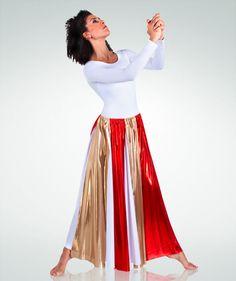 597 Fly-Away Metallic Panel Praise Dance Skirt $24.00