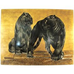 Black Panther oil paintings | Spectacular Paul Jouve Panel : Black Panthers, 1930's at 1stdibs