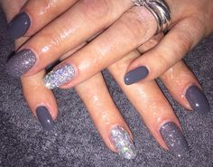 January 2016 - Dark Grey Gel Nails with Silver Foil Accent & Grey Glitter Accent