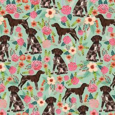 9aa15212827a7 german shorthaired pointer floral fabric cute dogs design dog floral fabric  by petfriendly