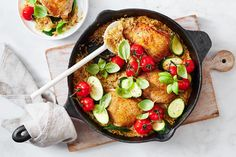 This summery one pan chicken dish can go straight from the stove top to the table. Dig in. Creamy Coconut Chicken, Lemon Chicken, One Pan Chicken, Yum Yum Chicken, One Pot Meals, Main Meals, Greek Spinach Pie, Lasagne Recipes, Savoury Dishes