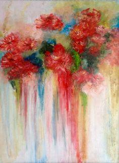 Bouquet abstrait fleurs éclatantes acrylique sur toile 73x57 : Peintures par magaline-arts